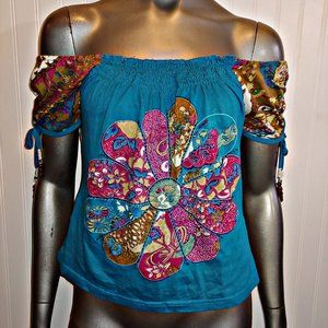 Nikita Colorful BOHO Peasant Top - M